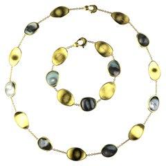Marco Bicego Lunaria 18 Karat Gold Black Mother of Pearl Necklace and Bracelet