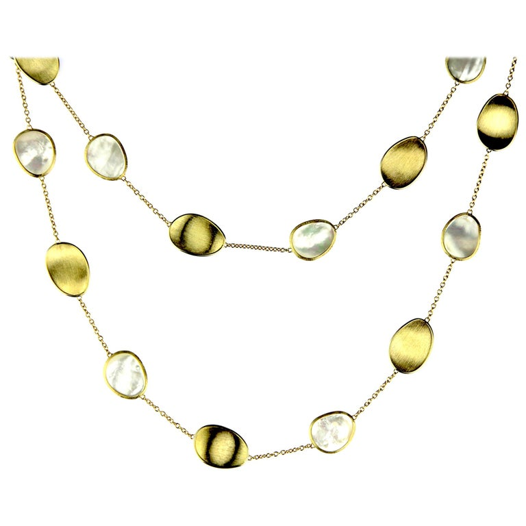 Marco Bicego Lunaria 18 Karat Yellow Gold White Mother of Pearl Long Necklace For Sale