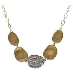 Marco Bicego Lunaria Pave Diamond and 18 Karat Yellow Gold Necklace