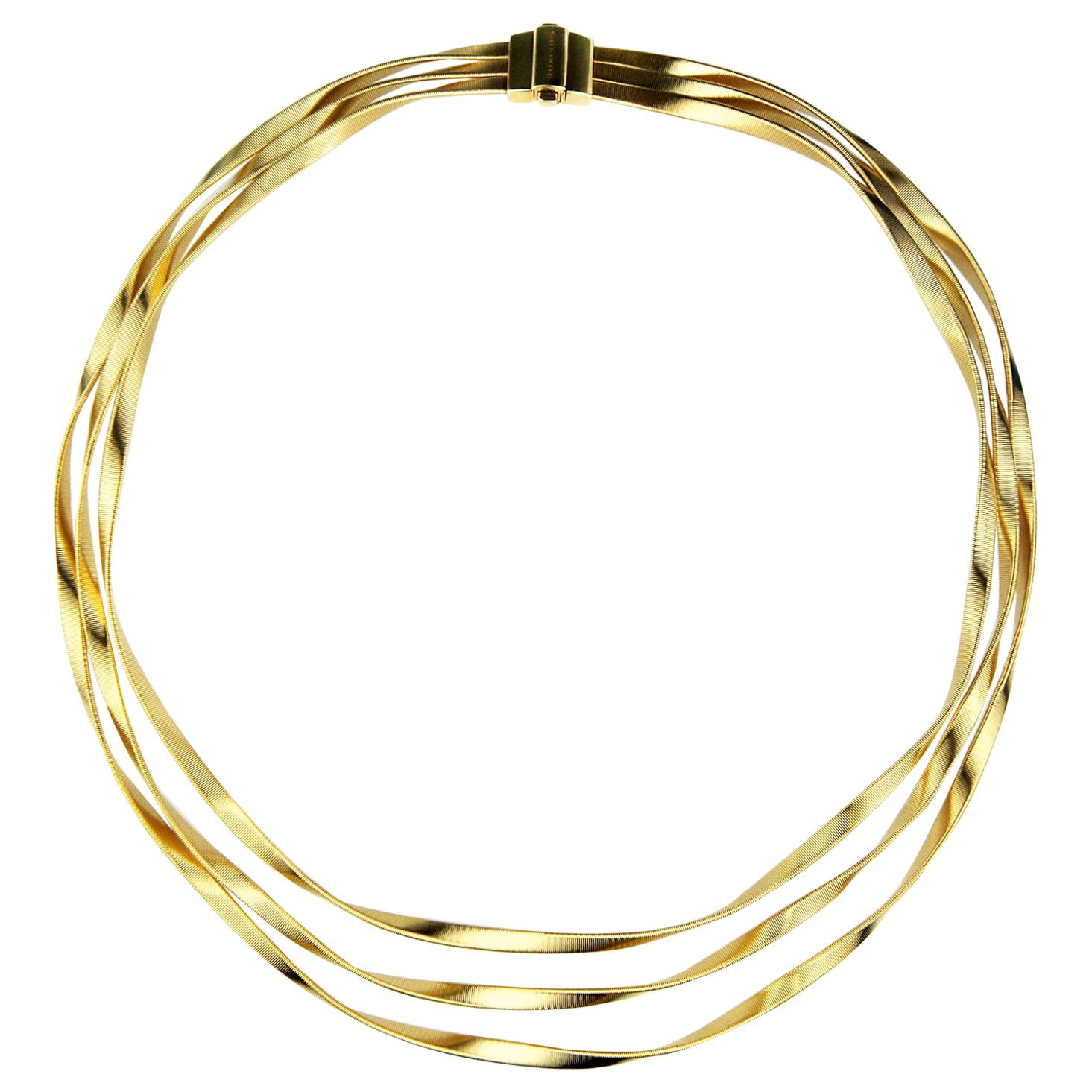 Marco Bicego Marrakech 18 Karat Yellow Gold Three-Strand Collar Necklace