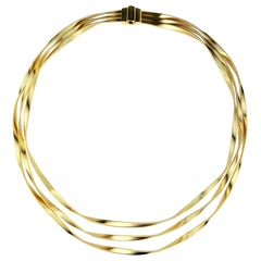Marco Bicego Marrakech 18 Karat Yellow Gold Three-Strand Collar Necklace