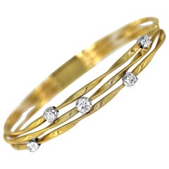 Marco Bicego Marrakech Three Strand/Row Diamond Bracelet in 18 Carat Yellow Gold