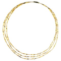 Marco Bicego Marrakech Three-Strand Diamond Necklace in 18 Karat Yellow Gold