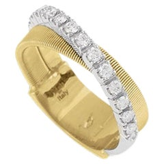 Marco Bicego Masai Yellow Gold Two-Row Pave Diamond Ring AG330B