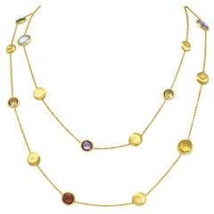 Marco Bicego Multi-Gem Topaz Beryl 18 Karat Gold Long Chain Confetti Necklace