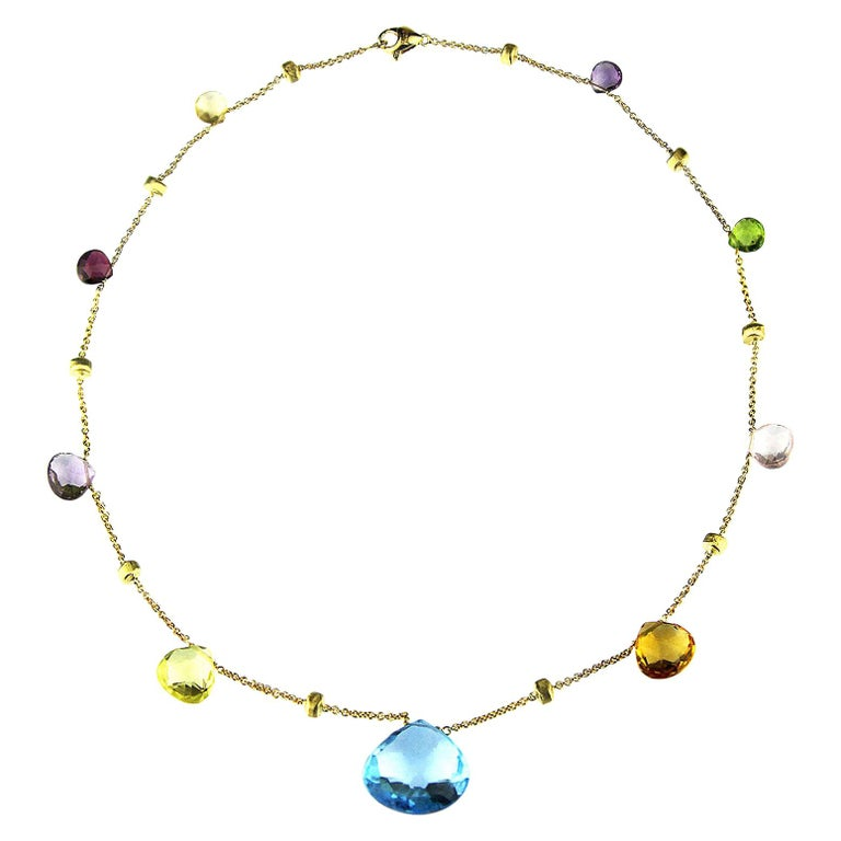 Marco Bicego Paradise Necklace in 18 Carat Yellow Gold, with Blue Topaz, Citrine For Sale