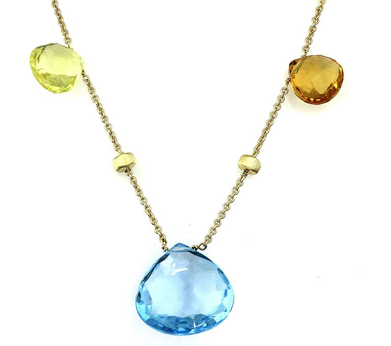 Modern Marco Bicego Paradise Necklace in 18 Carat Yellow Gold, with Blue Topaz, Citrine For Sale