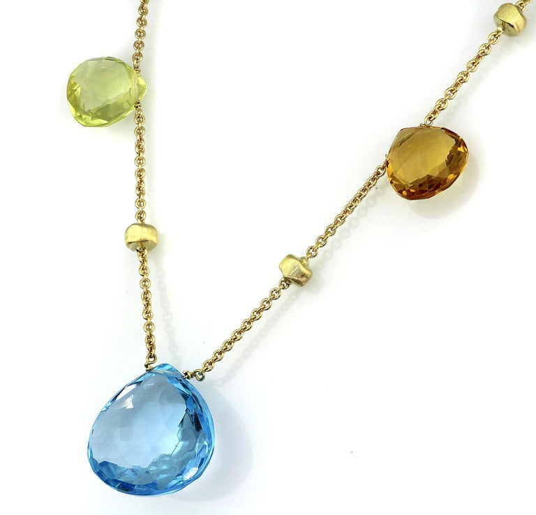 Briolette Cut Marco Bicego Paradise Necklace in 18 Carat Yellow Gold, with Blue Topaz, Citrine For Sale