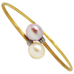 Marco Bicego Pave Diamond 18 Karat Gold Two-Tone Pearl Bypass Bangle Bracelet