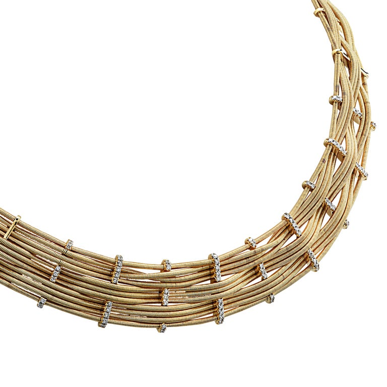Modern Marco Bicego Yellow Gold and Diamond Collar Necklace For Sale