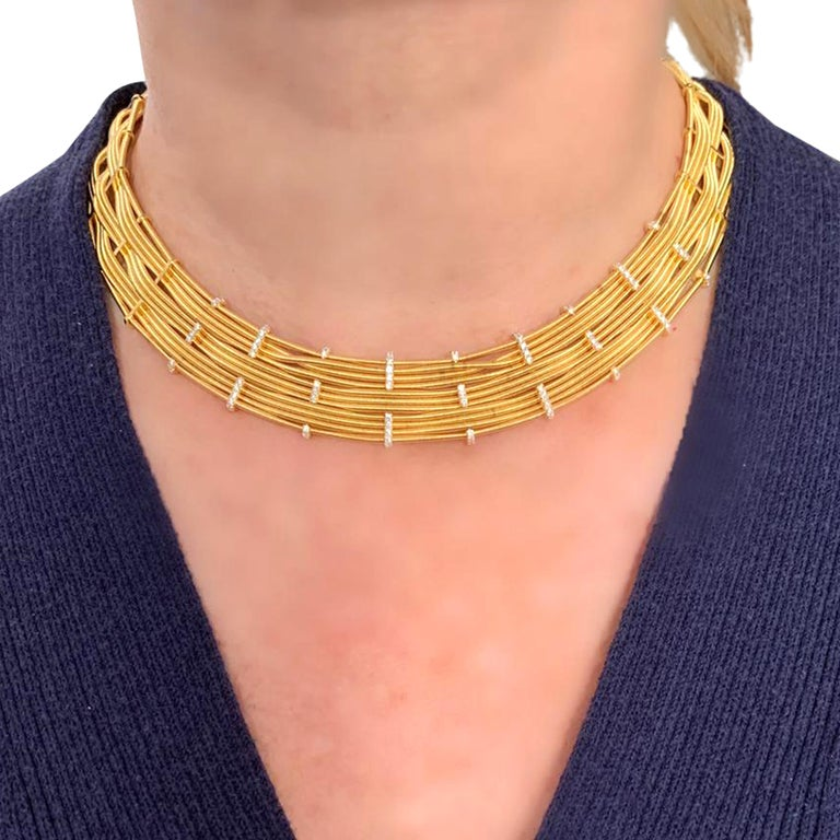 Round Cut Marco Bicego Yellow Gold and Diamond Collar Necklace For Sale