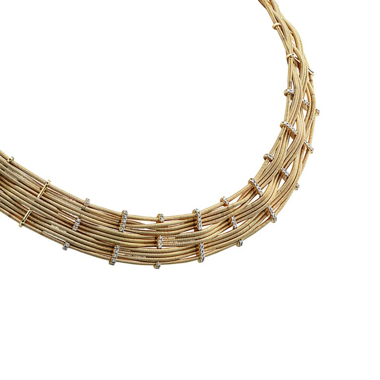 Marco Bicego Yellow Gold and Diamond Collar Necklace In Good Condition For Sale In Miami, FL