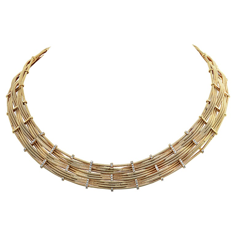 Marco Bicego Yellow Gold and Diamond Collar Necklace For Sale