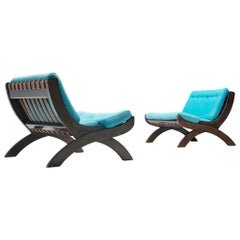 """Marco Comolli Par of """"CP1"""" Lounge Chairs in Walnut"""
