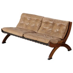 Marco Comolli Sofa in Walnut and Leather