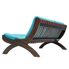 Marco Comolli Sofa Model 'CP1' Sofa in Walnut and Turquoise Upholstery