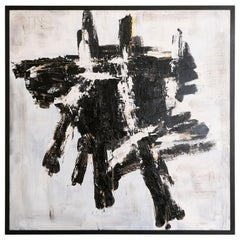 "Marco Croce ""Untitled"" Black and White Abstract Painting on Wood, Italy, 2018"