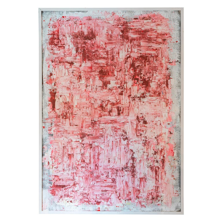 """Marco Croce """"Untitled"""" White and Pink Abstract Painting, Italy 2019"""