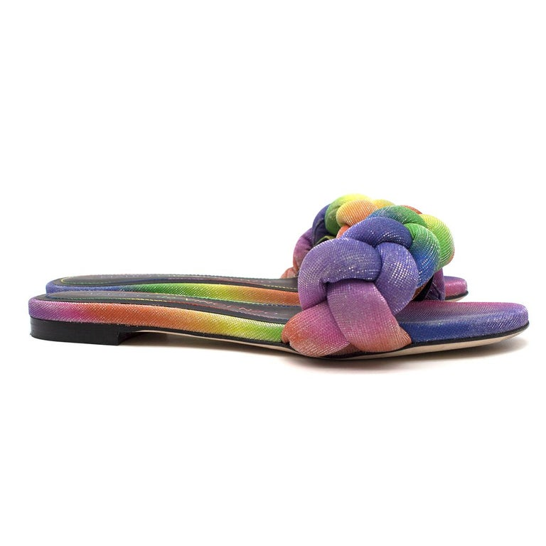 Marco De Vicenzo Ciabattina Rainbow Braided Slides  - Rainbow slides - Brand's signature chunky braiding in a single strap over the toes - Panelled colour block design - Open-toe - Black leather lining with logo embroidered - Flat sole  Please note,