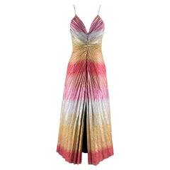 Marco de Vincenzo Front Slit Metallic Midi Dress M 44