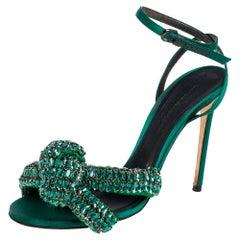 Marco de vincenzo Green Crystal Embellished Satin Knotted Ankle Strap Sandals Si