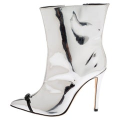 Marco de Vincenzo Metallic Silver Leather Bow Pointed Toe Ankle Boots Size 38