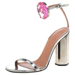 Marco de Vincenzo Metallic Silver Leather Chunky Ankle Strap Sandals Size 37