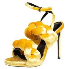 Marco De Vincenzo Sunflower Yellow Velvet Braided Ankle Strap Sandals Size 36.5