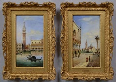 Pair of 19th Century townscape oil paintings of Venice