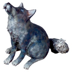 Marco Laganà Papier Mâché Wolf Sculpture Unique Piece