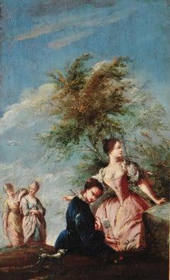 18th Century Marco Marcola Women en Plein Air Landscape Oil on Canvas Blue White