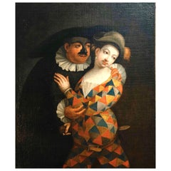Marco Marcola Painting of Gallant Masked Scene Italy Oil on Canvas, 18th Century