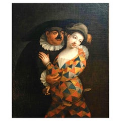 Marco Marcola Painting of Venitian Masked Scene, Italy, 18th Century