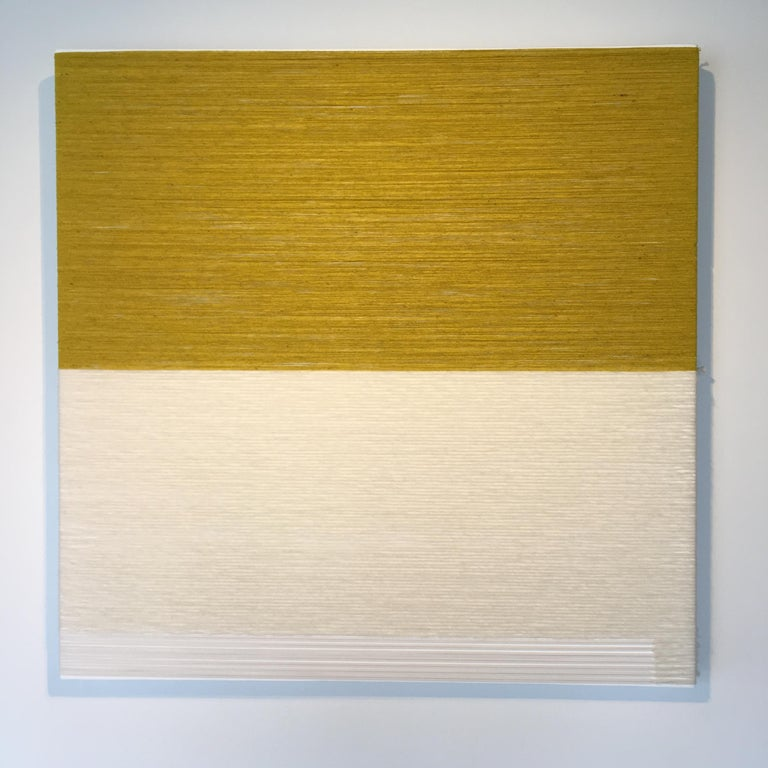 From the series Observing Multiculturalism - Despite having already settled in his promised land, anxiety still rules all his thoughts, 2019 Contemporary Textile Artwork Minimalist, neutral colors Raw Mexican wool, wool and PVC 48x48in Signed and