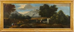 Huge 1700's Italian Old Master Oil Figures in Classical Landscape with Animals