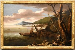 Ricci View Coastal Landscape Paint Oil on canvas Old master 17/18th Century Art
