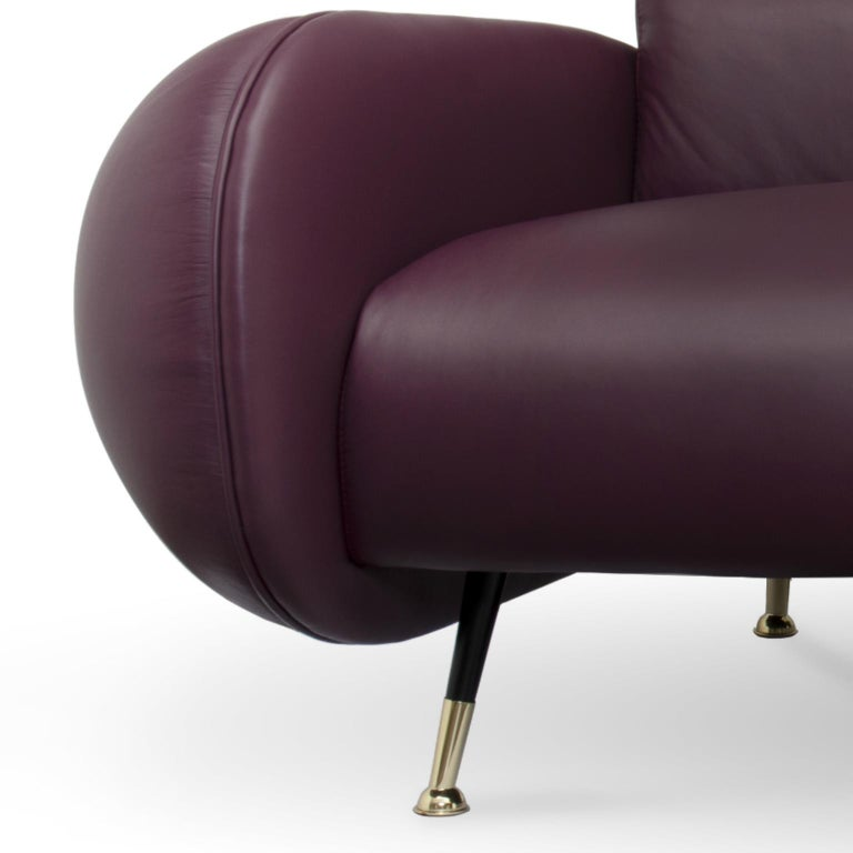 Mid-Century Modern Marco Sofa in Purple Leather For Sale