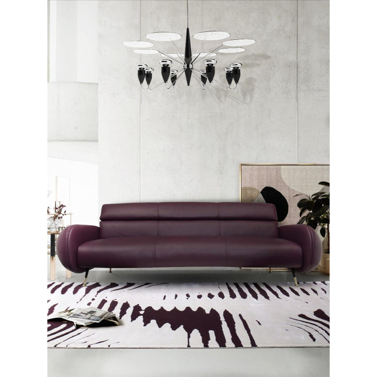 European Marco Sofa in Purple Leather For Sale