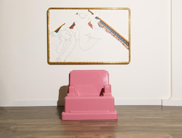 This conversation starter and Post-Modern collectors dream piece is the 'Roma' chair by Marco Zanini, designed in 1986 for Memphis Milano, Italy. Constructed of fiberglass, we fully restored it in a dusty rose (pink) colored french polish lacquer,