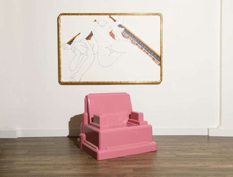 Post-Modern Marco Zanini 'Roma' Fiberglass Throne Chair for Memphis Milano, Italy, c. 1986 For Sale