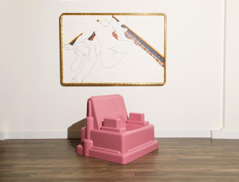 Italian Marco Zanini 'Roma' Fiberglass Throne Chair for Memphis Milano, Italy, c. 1986 For Sale