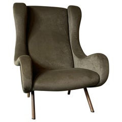 Marco Zanuso Arflex Senior Pair Armchairs Green Fabric Upholstered, Italy, 1951
