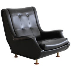 Marco Zanuso Black Leather Lounge Chair