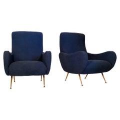 Marco Zanuso Blue Armchairs
