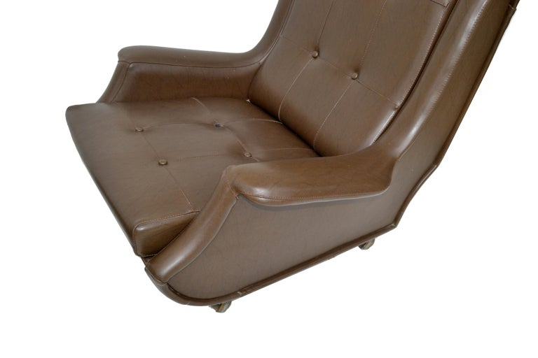 Marco Zanuso Brown Leather Chair with Ottoman Model Regent for Arflex Italy 1960 For Sale 3