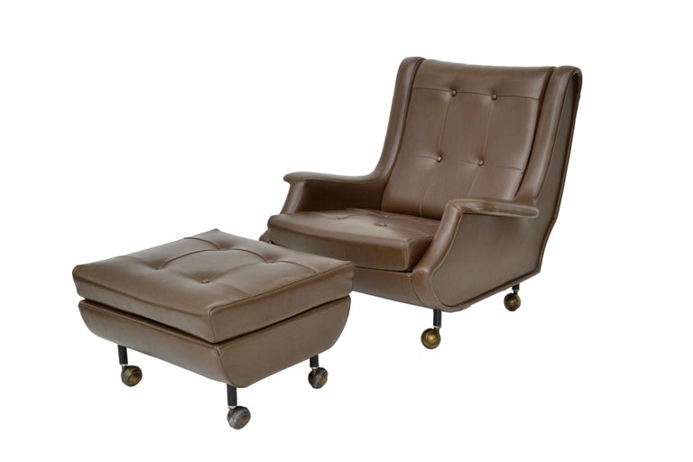 Marco Zanuso Brown Leather Chair with Ottoman Model Regent for Arflex Italy 1960 For Sale 7