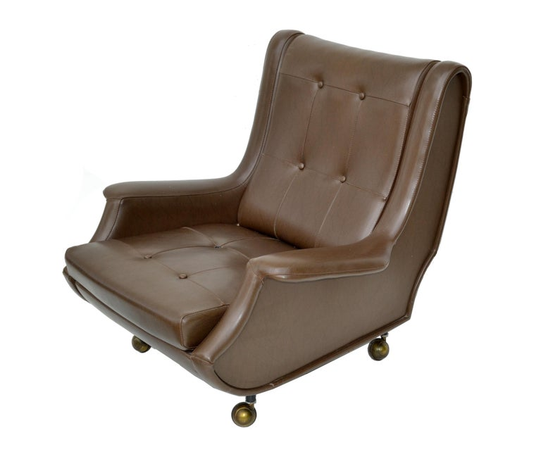 Italian Marco Zanuso Brown Leather Chair with Ottoman Model Regent for Arflex Italy 1960 For Sale