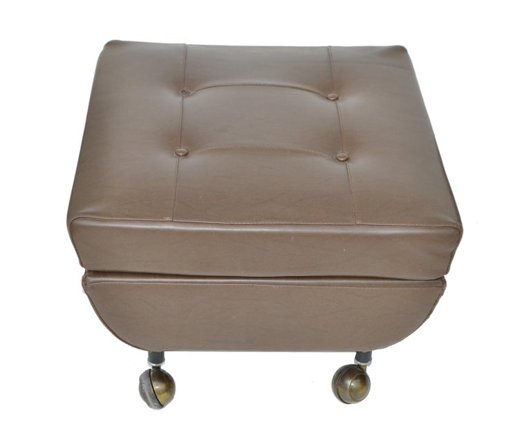 Marco Zanuso Brown Leather Chair with Ottoman Model Regent for Arflex Italy 1960 In Good Condition For Sale In Miami, FL