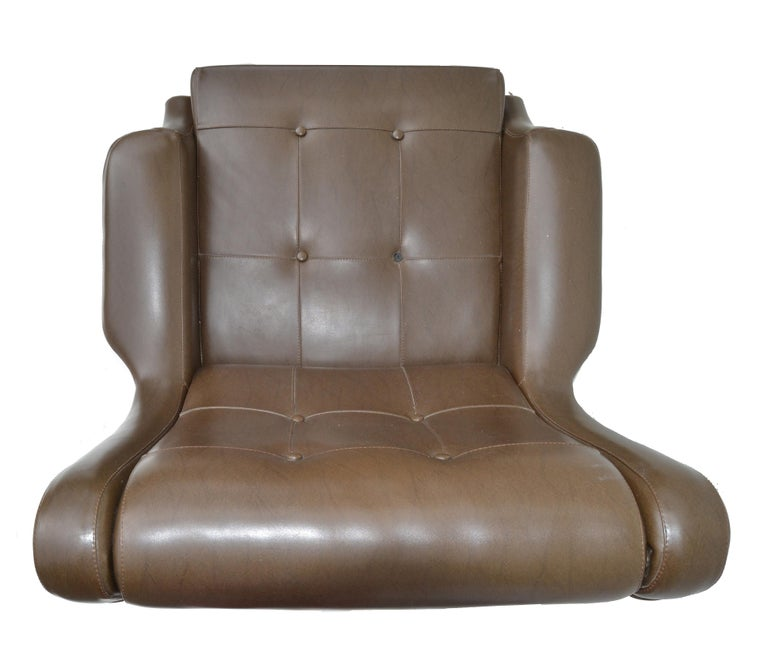 Metal Marco Zanuso Brown Leather Chair with Ottoman Model Regent for Arflex Italy 1960 For Sale