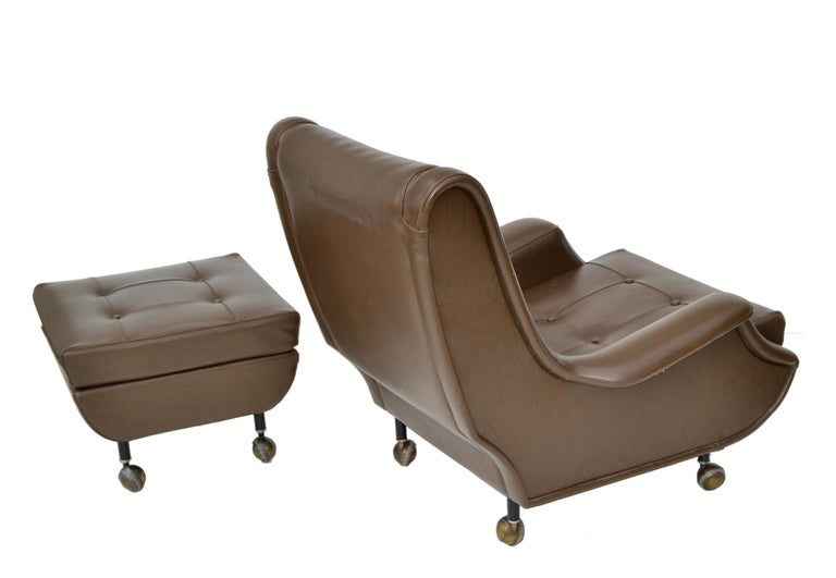 Marco Zanuso Brown Leather Chair with Ottoman Model Regent for Arflex Italy 1960 For Sale 1